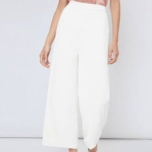 WHITE SOLID WIDE LEG PANTS